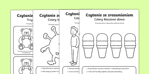 Karta Czytanie z rozumieniem Cztery słowa kluczowe po polsku , worksheet