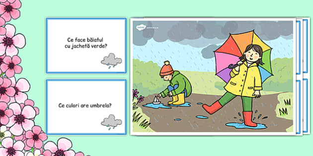 Zi cu ploaie, Plansa si intrebari - comunicare