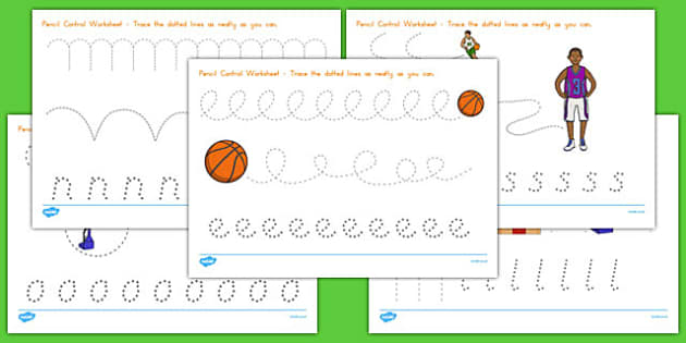 Basketball Themed Pencil Control Worksheets - usa, nba, basketball, national basketball association, pencil control, worksheet