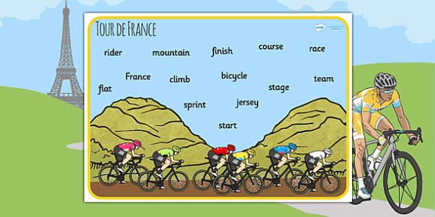 Tour de France Word Mat - le tour, bicycle, visual aid, keywords