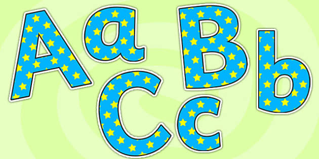 Blue And Yellow Stars Size Editable Display Lettering - blue and yellow stars, size editable, editable, display lettering, display, lettering, alphabet