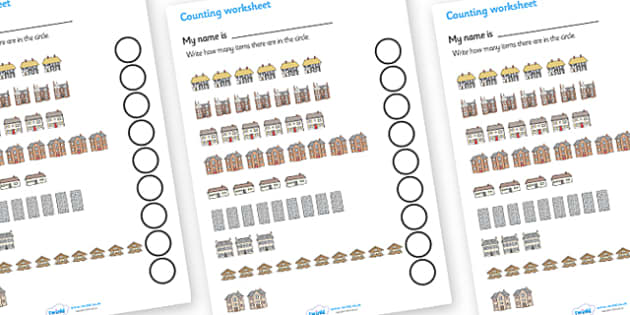 My Counting Worksheet (Houses and Homes) - Counting worksheet, house, home, building, counting, activity, how many, foundation numeracy, counting on, counting back, brick, stone, detached, terraced, bathroom, kitchen, door, caravan, where we live, ou