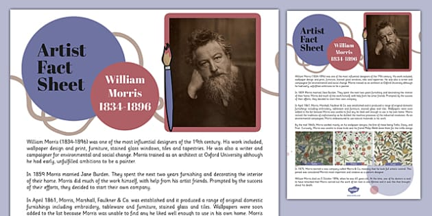 William Morris Artist Fact Sheet - william morris, artist, fact sheet, fact, sheet, famous