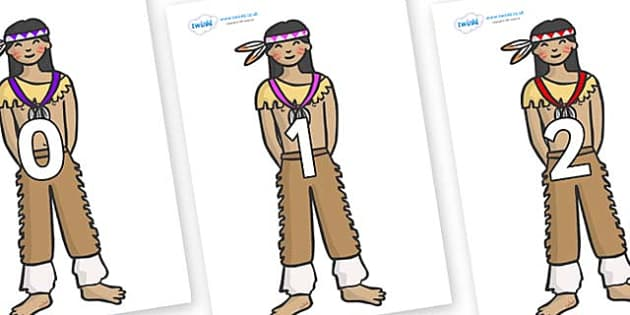 Numbers 0-50 on Native Americans - 0-50, foundation stage numeracy, Number recognition, Number flashcards, counting, number frieze, Display numbers, number posters
