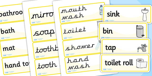 bathroom, houses and homes, house, Word cards, flashcards, readin