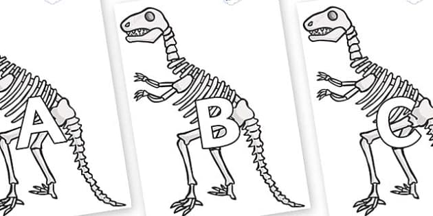 A-Z Alphabet on Dinosaur Skeletons - A-Z, A4, display, Alphabet frieze, Display letters, Letter posters, A-Z letters, Alphabet flashcards