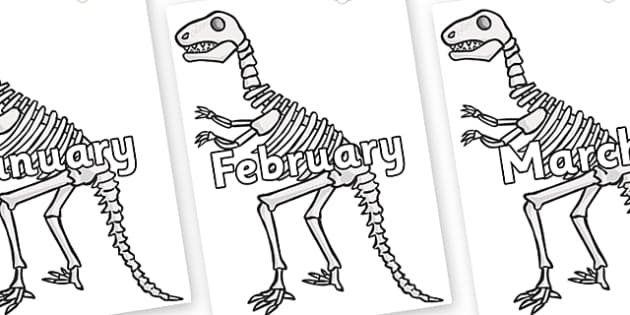 Months of the Year on Dinosaur Skeletons - Months of the Year, Months poster, Months display, display, poster, frieze, Months, month, January, February, March, April, May, June, July, August, September