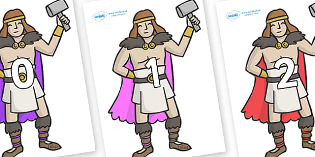 Numbers 0-50 on Viking Warriors - 0-50, foundation stage numeracy, Number recognition, Number flashcards, counting, number frieze, Display numbers, number posters