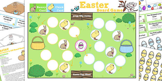 Subtraction from 100 Easter Bunny Hop Board Game - activity