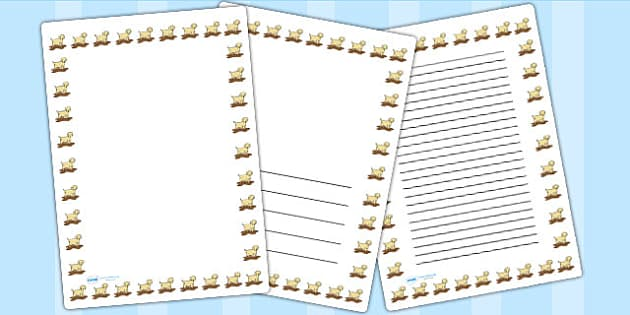 Puppy Page Borders - puppy, page borders, borders, writing