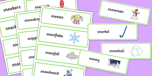 Two Syllable 'SN' Word Cards - sn sound, syllable, word cards, sound