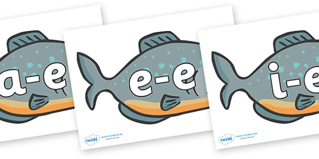 Modifying E Letters on Piranhas - Modifying E, letters, modify, Phase 5, Phase five, alternative spellings for phonemes, DfES letters and Sounds