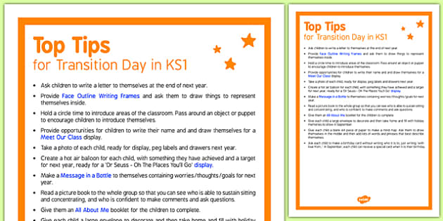 Transition Day in KS1 Top Tips