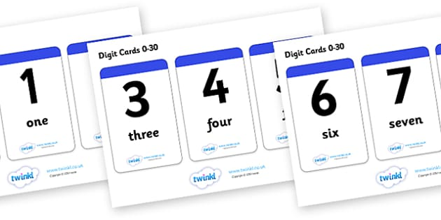 Number & Word Digit Cards 0-30 - math, numeracy, digit card, number recognition, number name, digits, names of numbers
