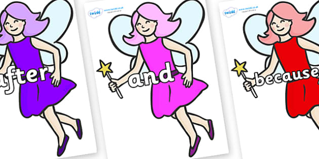 Connectives on Fairies - Connectives, VCOP, connective resources, connectives display words, connective displays