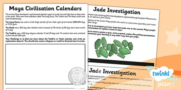 PlanIt - History UKS2 - The Maya Civilisation Unit Home Learning Tasks