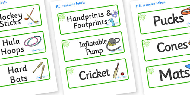 Green Themed Editable PE Resource Labels - Themed PE label, PE equipment, PE, physical education, PE cupboard, PE, physical development, quoits, cones, bats, balls, Resource Label, Editable Labels, KS1 Labels, Foundation Labels, Foundation Stage Labe