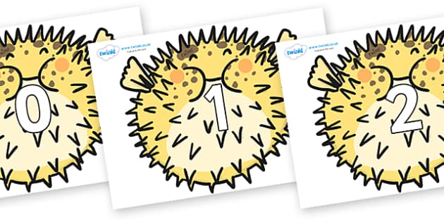 Numbers 0-100 on Pufferfish - 0-100, foundation stage numeracy, Number recognition, Number flashcards, counting, number frieze, Display numbers, number posters