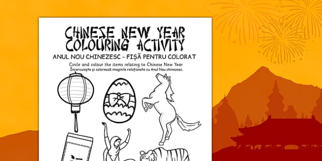 Chinese New Year Colouring Activity Romanian Translation - romanian, chinese new year, colouring, activity
