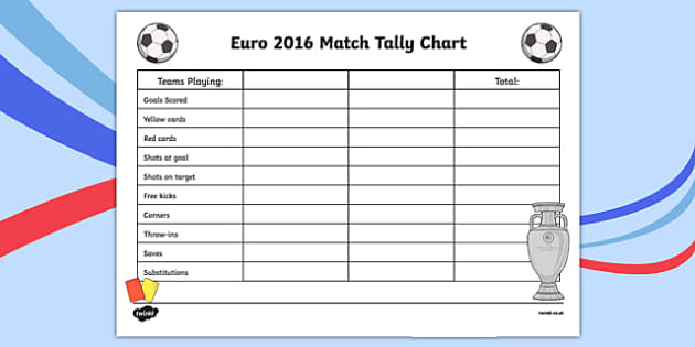 Euro 2016 Match Tally Chart Activity Sheet, worksheet