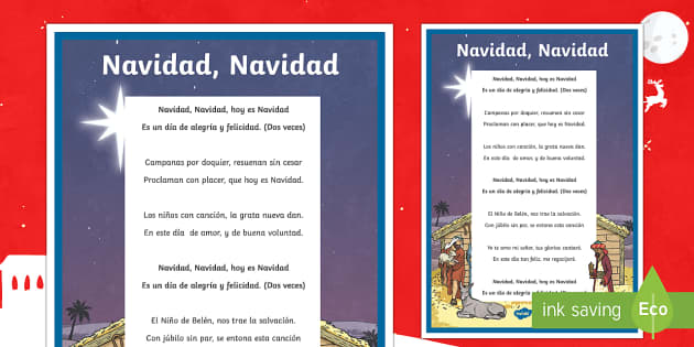 Jingle Bells Christmas Carol Lyrics Display Poster Spanish