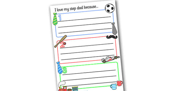 I Love my Stepdad Writing Templates - Father's day, Father's day activity, Father's day resource, father, stepdad, dad, writing template, design, activity