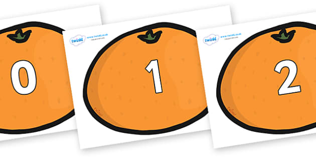 Numbers 0-100 on Satsumas - 0-100, foundation stage numeracy, Number recognition, Number flashcards, counting, number frieze, Display numbers, number posters