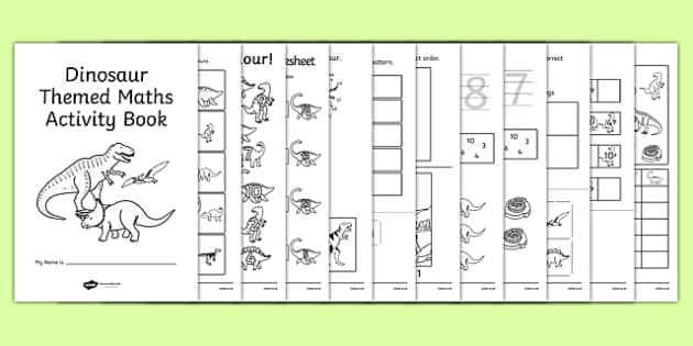 Dinosaur Themed KS1 Maths Activity Book - numeracy, activities