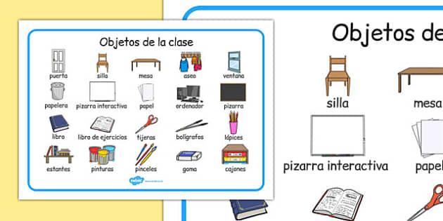 Objetos de la clase Word Mat Spanish - spanish, classroom objects, classroom, objects, word mat, word, mat