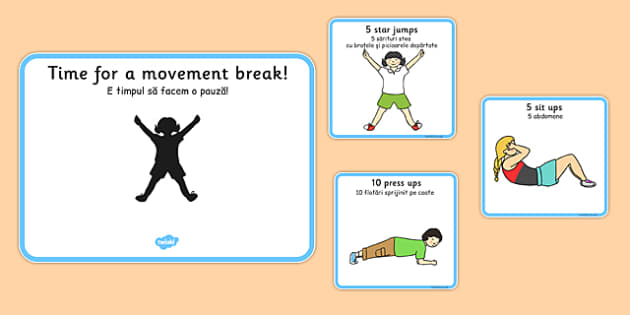 Time For A Movement Break Visual Support Cards Romanian Translation - romanian, time, movement, break, support