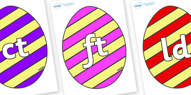 Final Letter Blends on Easter Eggs (Stripes) - Final Letters, final letter, letter blend, letter blends, consonant, consonants, digraph, trigraph, literacy, alphabet, letters, foundation stage literacy