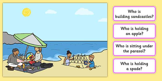 Picnic Picture and Questions -Question words , Listening, Receptive language, expressive language, Language activity