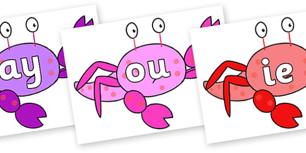 Phase 5 Phonemes on Crab to Support Teaching on Sharing a Shell - Phonemes, phoneme, Phase 5, Phase five, Foundation, Literacy, Letters and Sounds, DfES, display