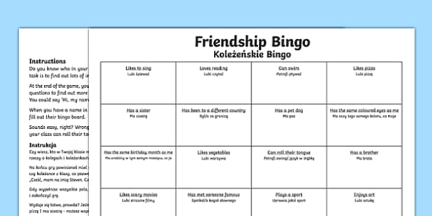 Back to school new class friendship bingo activity Polish Translation-Scottish-translation