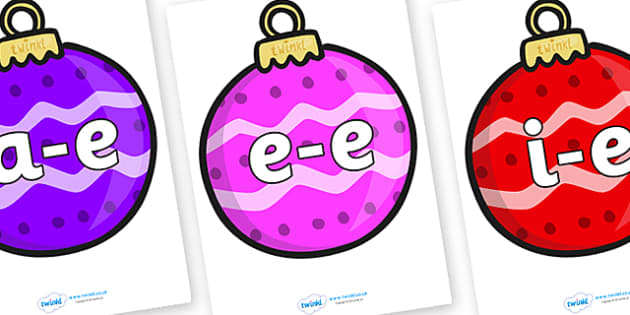 Modifying E Letters on Baubles (Patterned) - Modifying E, letters, modify, Phase 5, Phase five, alternative spellings for phonemes, DfES letters and Sounds