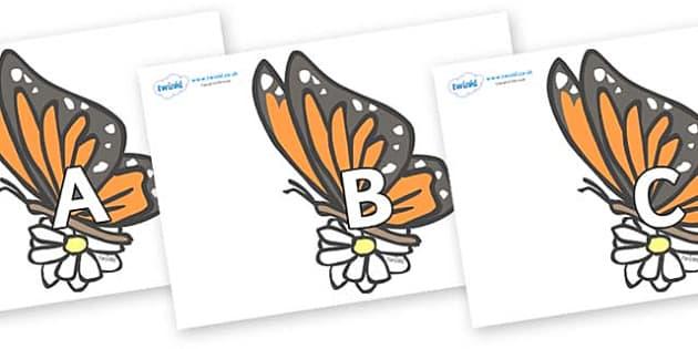 A-Z Alphabet on Butterflies - A-Z, A4, display, Alphabet frieze, Display letters, Letter posters, A-Z letters, Alphabet flashcards