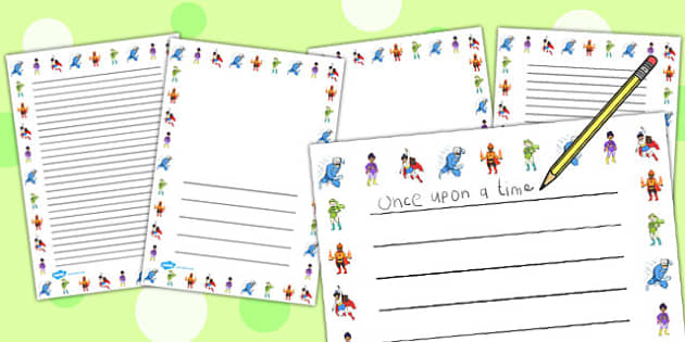 Superheros Page Borders - page border, border, frame, writing frame, writing template, writing aid, writing, A4 page, page edge, writing activities, lined page, lined pages
