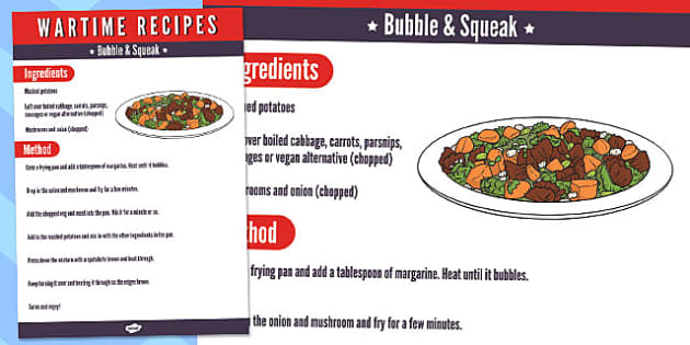 Wartime Bubble and Squeak Recipe - wartime recipe, bubble, squeak