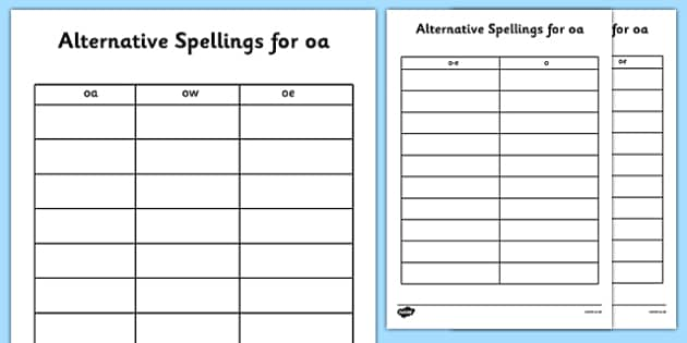 Alternative Spellings for oa Table Worksheets alternative – Oa Worksheets