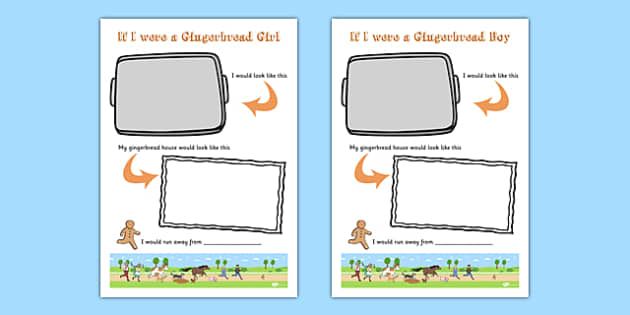 If I Was a Gingerbread Person Writing Templates - if I was a gingerbread man, gingerbread person, writing templates, writing aid, writing guide, line guide