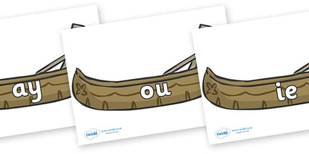 Phase 5 Phonemes on Canoes - Phonemes, phoneme, Phase 5, Phase five, Foundation, Literacy, Letters and Sounds, DfES, display