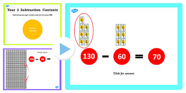 Y2 Subtract 2 Digit Numbers Tens Same 10 Cross 100 Start Activity