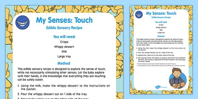 My Senses   Touch Edible Sensory Recipe