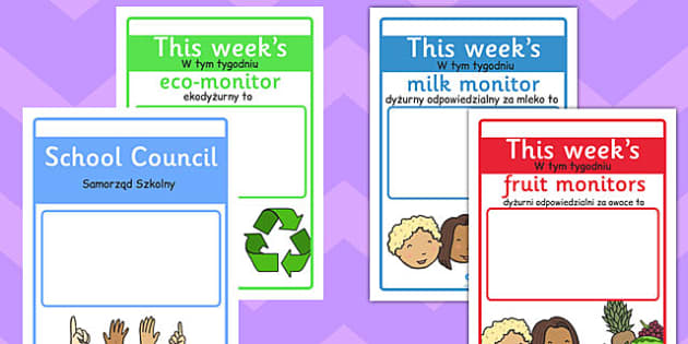 Classroom Monitor Display Signs Weekly Polish Translation - responsiblities, roles, ks1, ks2, key stage 1, key stage 2,
