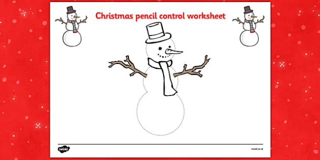 Christmas Pencil Control Worksheets (Snowman) - Christmas, xmas, pencil control, Handwriting, tracing lines, lines, pencil contol, line guide, fine motor skills, Handwriting, Writing aid, Learning to write, tree, advent, nativity, santa, father chris