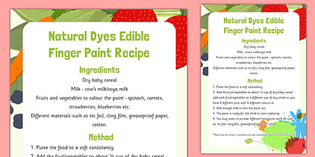 Natural Dyes Edible Paint Recipe - natural dyes, edible paint, recipe, edible, paint