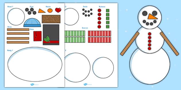 Winter Snowman Shapes Activity Pack - Winter, Snow, Man, Activity