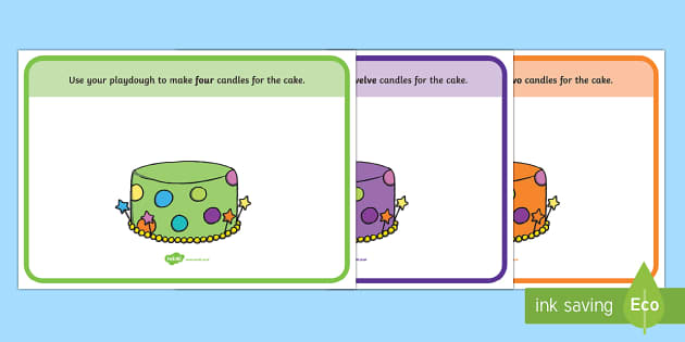 Cake Counting Playdough Mats - Number Playdough mat, cake, counting playdough mat, playdough resources, numeracy, numbers, playdough