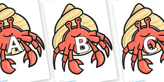 A-Z Alphabet on Hermit Crabs - A-Z, A4, display, Alphabet frieze, Display letters, Letter posters, A-Z letters, Alphabet flashcards