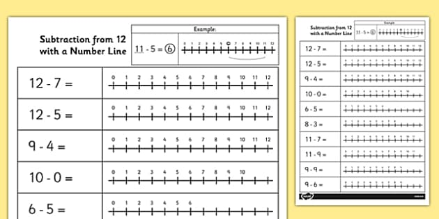 Subtraction From 20 Number Line Worksheet - subtraction, line